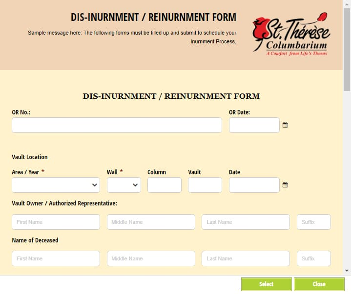 Disinurnment/Reinurnment Form